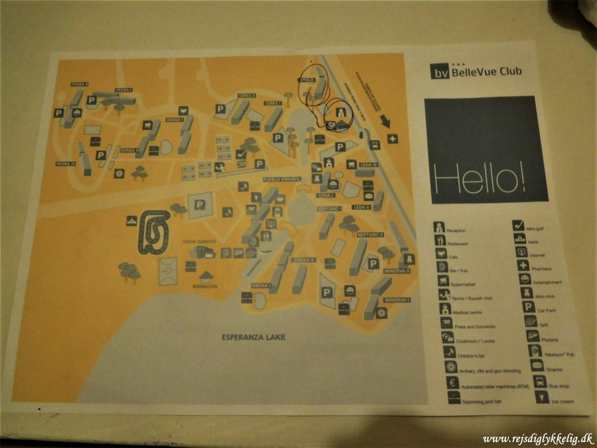Anmeldelse af Hotel BelleVue Club Apollo - Kort over hotelområdet - Rejsdiglykkelig.dk