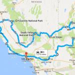 Road trip rute i det vestlige USA
