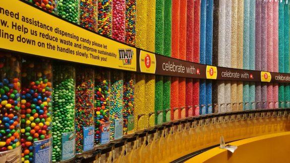 Fotodagbog fra Las Vegas - Én af M&M's fem butikker i verden ligger på The Strip - Rejsdiglykkelig.dk