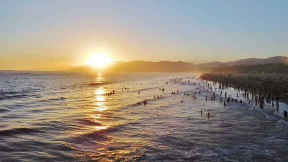Fotodagbog fra Los Angeles - Solnedgang over Santa Monica Beach - Rejsdiglykkelig.dk