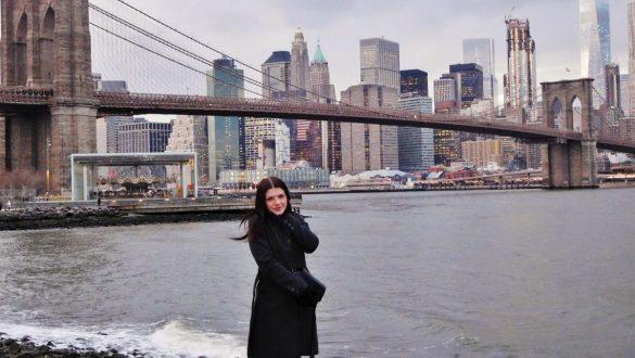 Fotodagbog fra New York - Solnedgang over Brooklyn Bridge og New Yorks skyline - Rejsdiglykkelig.dk