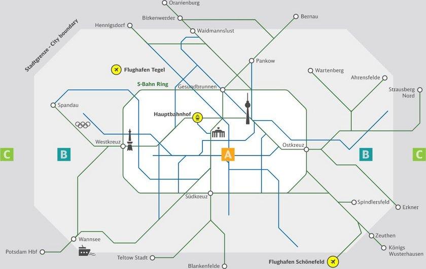 Guide til offentlig transport i Berlin - Kort over zoner i forskellige farver - Rejsdiglykkelig.dk