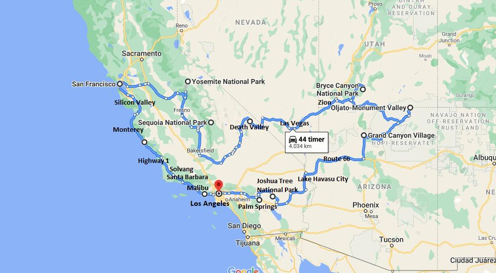 Ruteforslag; Road Trip Rute i det vestlige USA - Rejs Dig Lykkelig